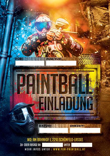 Vordruck einer Paintball-Einladung